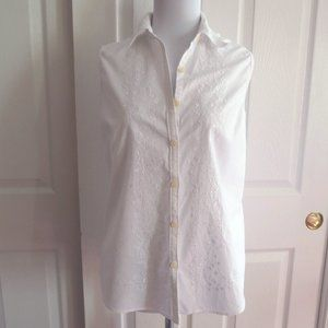 Eddie Bauer Sleeveless White Button Down Shirt